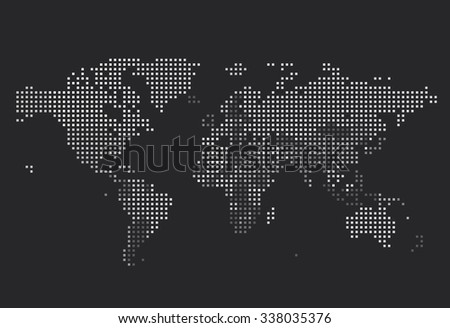 Dotted world map square dots on stock vector 338035376 shutterstock dotted world map of square dots on dark background vector illustration gumiabroncs Image collections