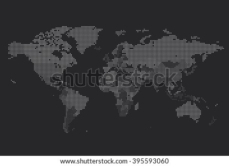 Dotted World map of square dots on dark background. Vector illustration. - stock vector