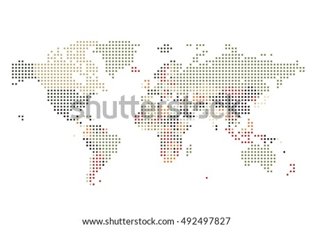 Graphic map dots stock images royalty free images vectors dotted world map of square dots on white background vector illustration gumiabroncs Image collections