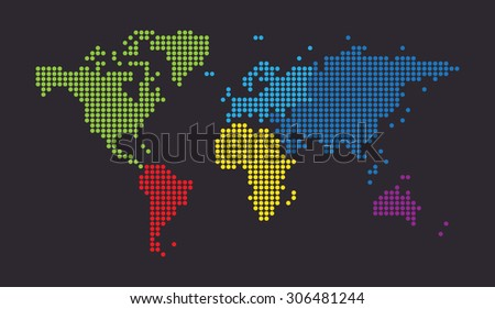 Dotted world map on dark background. Vector - stock vector