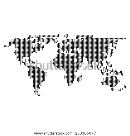 Dotted World Map Vector Stock Vector 253305079 - Shutterstock
