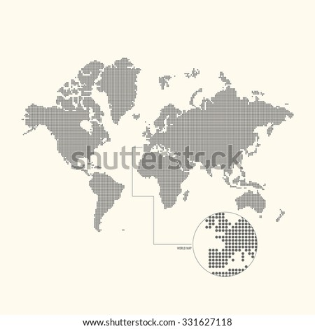 Dotted world map. Vector illustration. - stock vector