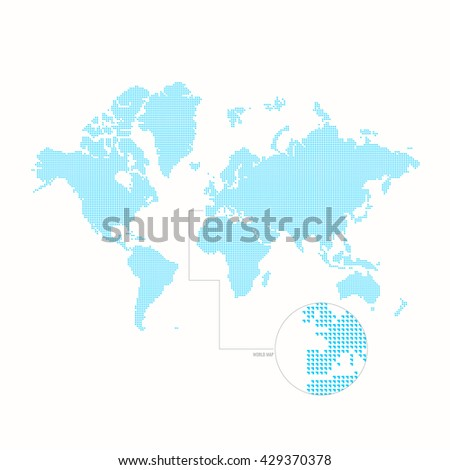 Dotted world map. Vector illustration. Blue vector map. Dotted drawing of the continents of the earth. World map template on a white background - stock vector