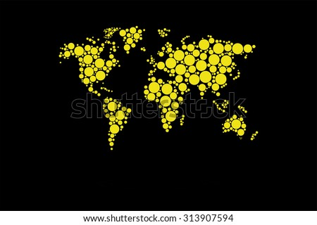 Dotted World Map Vector With Retro Contrast Colors - stock vector