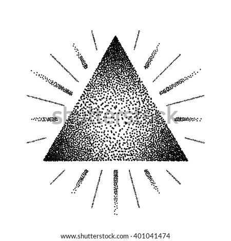 Dotwork raster triangle with rays and tattoo style - stock vector