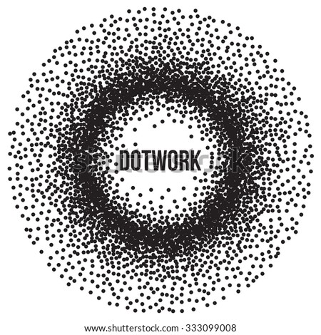 Dotwork Ring Banner. Halftone Style Monochrome Gradient Illustration. Abstract Vector Background.