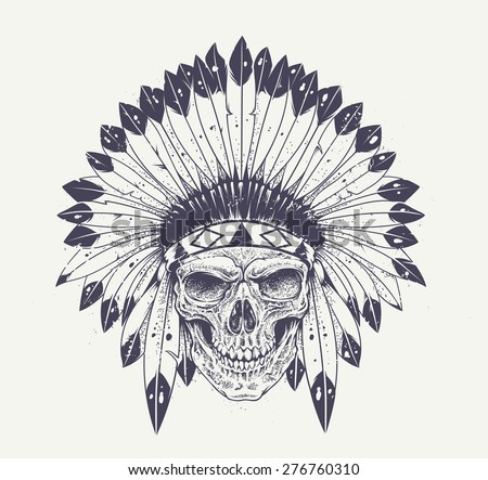 Dotwork style skull with indian feather hat. Grunge vector art. - stock vector