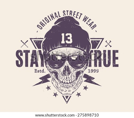 Dotwork style skull with sunglasses and hat. Grunge print template. Vector art. - stock vector