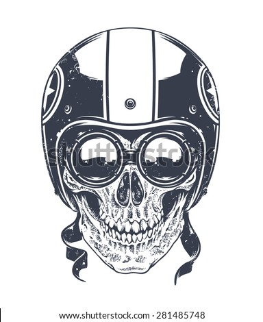 Dotwork styled rider skull with retro glasses and helmet. Vector art.  - stock vector