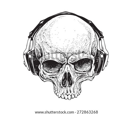 Dotwork styled skull with headphones. Vector art.  - stock vector