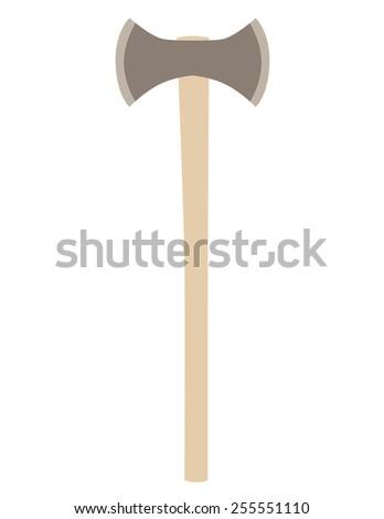 Double axe vector isolated , hatchet vector, battle weapon, viking weapon - stock vector