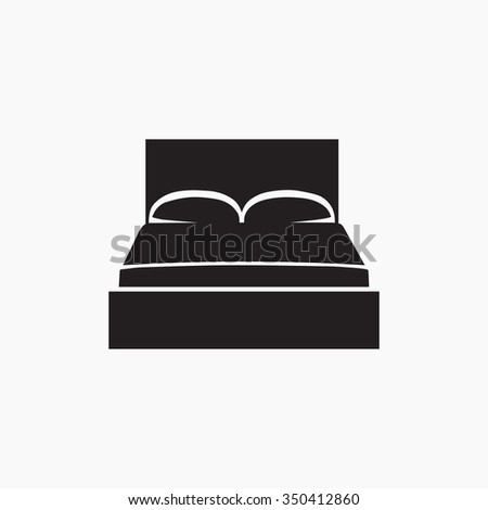 Double bed. Icon. Gray Logo. Vector Illustration. EPS Illustration.