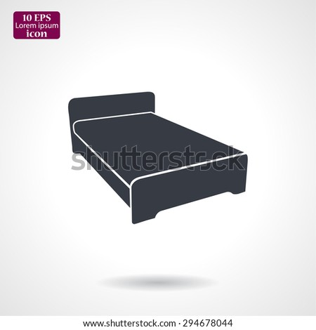 double bed, icon. Vector  Eps 10  - stock vector