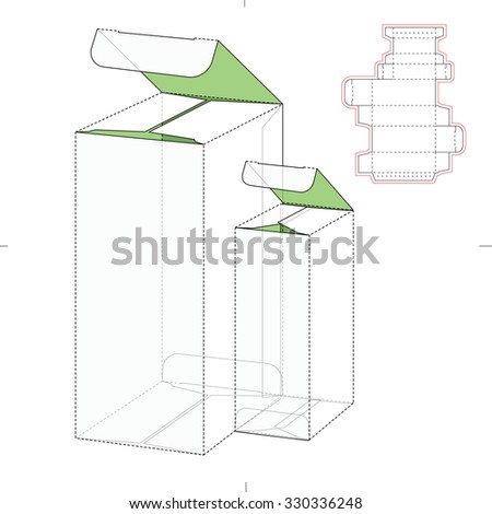 Double Box with Die Line Template - stock vector