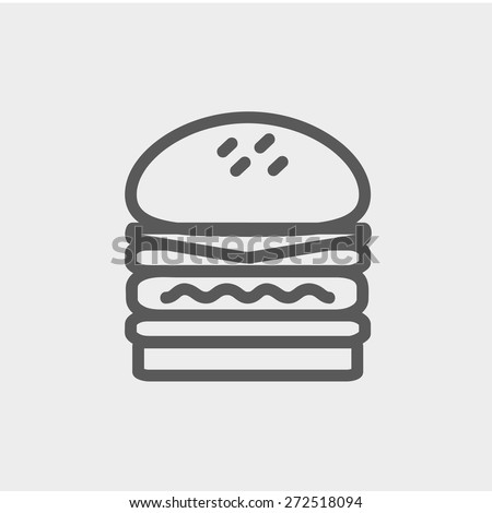 Double burger icon thin line for web and mobile, modern minimalistic flat design. Vector dark grey icon on light grey background. - stock vector
