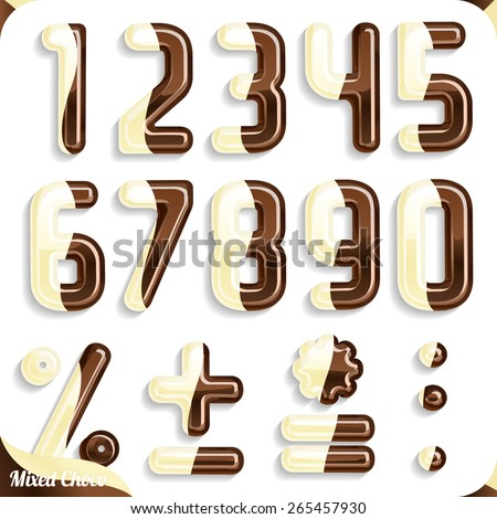 Double Chocolate mix font, White chocolate and Milk Chocolate, Part 2/2 Numbers - stock vector