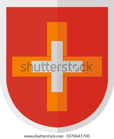 Double Cross On Shield Stock Vector 1070641700 Shutterstock