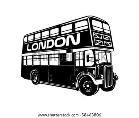Double Decker Bus - Retro Clip Art - stock vector