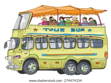 double decker tourist bus - cartoon - stock vector