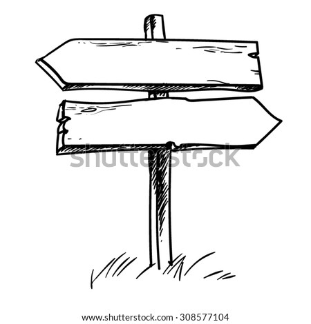 Double direction sign. Hand drawn vector illustration. - stock vector