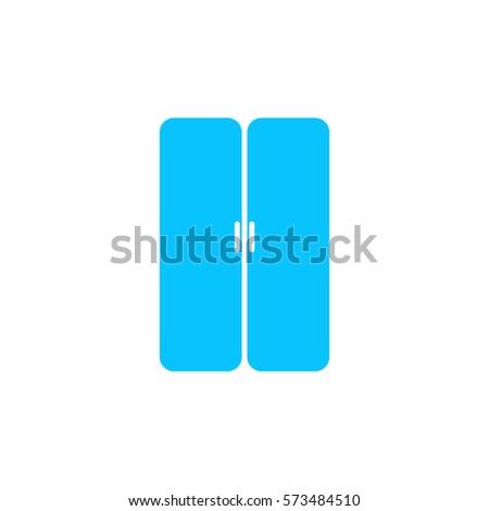 Double Door Icon Flat Blue Pictogram Stock Vector 573484510