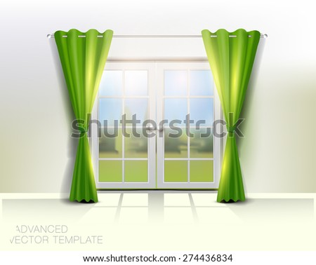 Double door to garden with green curtains on warm summer day, High quality vector illustration - stock vector