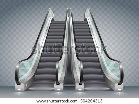 clear office. Double Escalator Shopping Center Or Office With Clear Glass. Vector Graphics