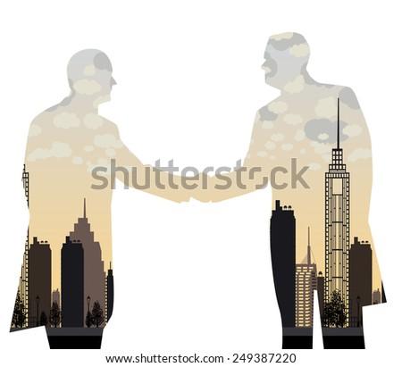 double exposure handshake businessman on city background Vector illustration - stock vector