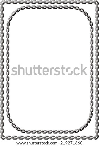 Double frame of steel-colored chains. Square and with rounded corners - stock vector