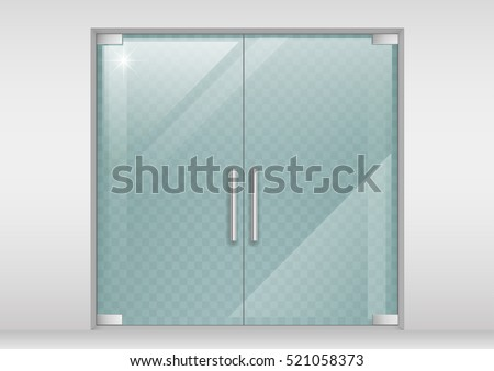 glass doors for office. double glass doors to the shopping center or office vector graphics with transparency effect for