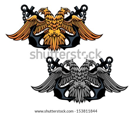 Double head eagle with vintage anchor for heraldry or tattoo design or idea of logo. Jpeg version also available in gallery - stock vector