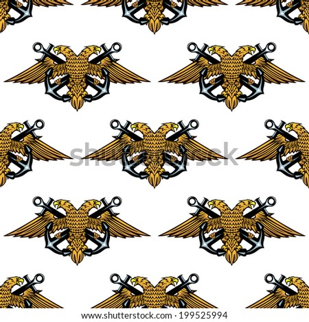 Double headed Imperial eagle and crossed anchors seamless background pattern in square format - stock vector