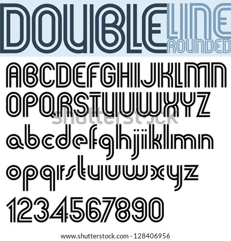 Double Line Retro Style Geometric Font Trendy And Stylish Letters Alphabet Best For Use