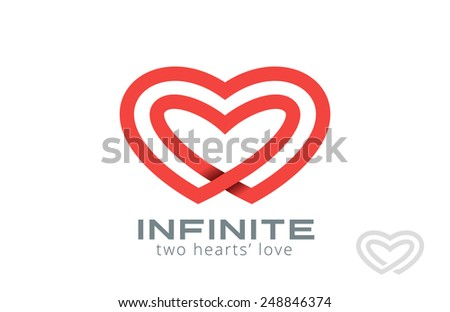 Double Looped Infinity Hearts Logo design vector template. Logotype Couple in Love Valentine Day concept icon.  - stock vector