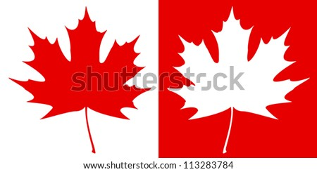 Double maple leaf silhouette on a contrast  background. EPS10 vector illustration. - stock vector