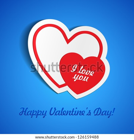 Double Red Heart Paper Sticker With Shadow On Blue Background Valentine's Day. Vector Illustration Postcard EPS10 - stock vector