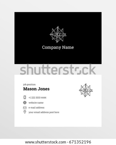 Doublesided Business Card Template Us Standard Stock Vector