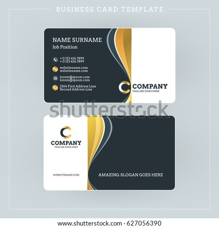 Doublesided business card template abstract golden stock vector double sided business card template with abstract golden and black waves background vector illustration accmission Gallery