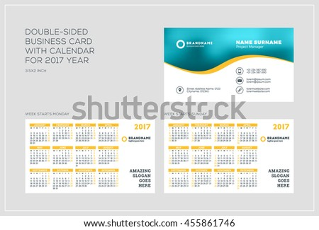 Doublesided Business Card Template Calendar Stock Vector - Business card calendar template