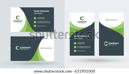 Doublesided creative business card template portrait stock vector double sided creative business card template portrait and landscape orientation horizontal and vertical fbccfo Choice Image