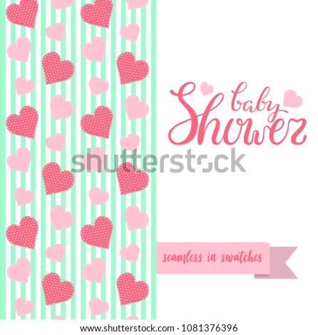 Double sided cute greeting card newborn stock vector 1081376396 double sided cute greeting card for newborn baby girl shower party with fabric and pennant seamless m4hsunfo
