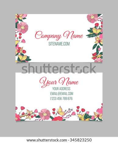 Double-sided floral business card with hand drawn small flowers and butterfly on white background