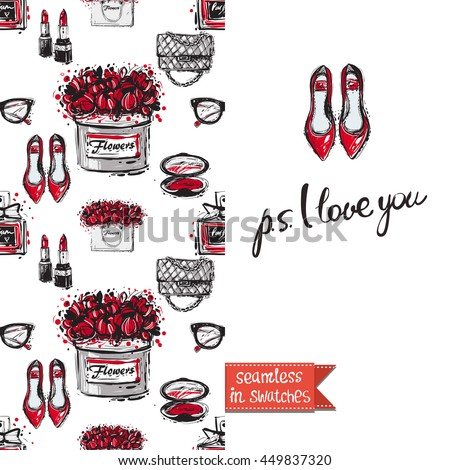 Double sided greeting card in bright fashion style. Seamless pattern with flat shoes on one side and on another big accessory element with lettering: ps i love you. - stock vector