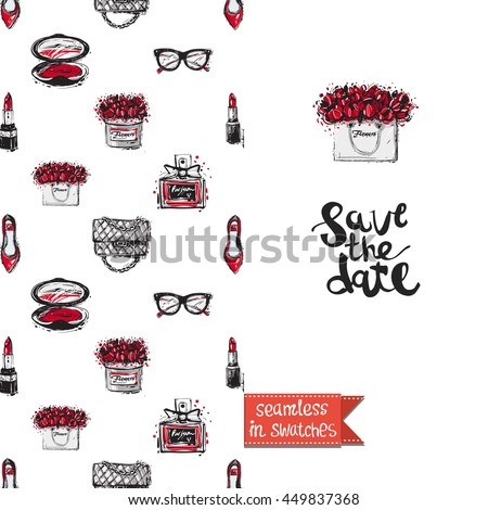 Double sided greeting card in bright fashion style. Seamless pattern with flat shoes on one side and on another big accessory element with lettering: save the date. - stock vector