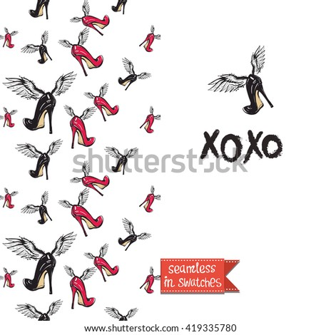 Double sided modern fashion greeting card with hand drawn illustration. Glamour glossy makeup accessories red heels and heel seamless pattern background, icon or logo and lettering: xoxo