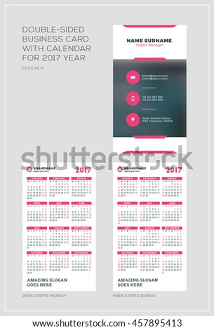Doublesided Vertical Business Card Template Calendar Stock Vector - Business card calendar template