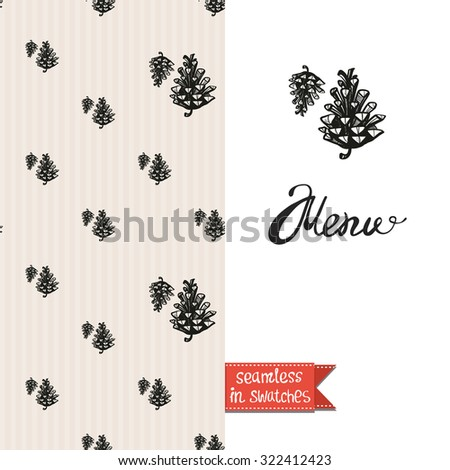 Double sided vintage greeting card for forest autumn rustic wedding party with cone and pine seamless pattern background, icon and lettering: menu. Seamless pattern in swatches