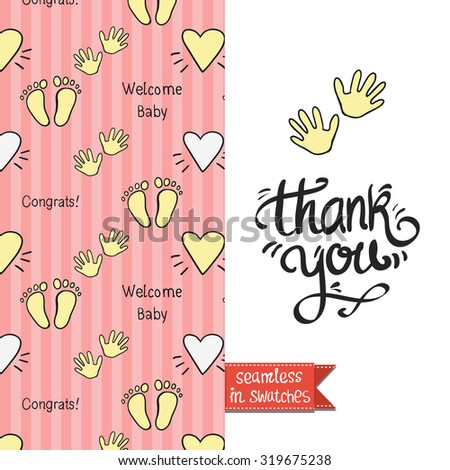 Double sided vintage greeting card for newborn baby girl shower party with inscription and congrats pattern on back side and icon and lettering: thank you, on front side. Seamless pattern in swatches. - stock vector