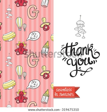 Double sided vintage greeting card for newborn baby girl shower party with toy and elephant pattern on back side and icon and lettering: thank you, on front side. Seamless pattern in swatches. - stock vector