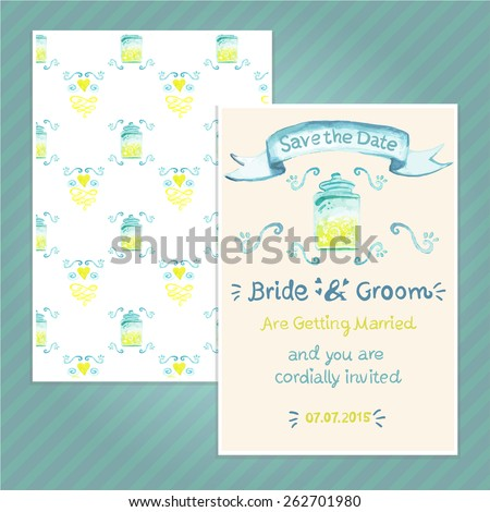 Double sided vintage invitation card for wedding party with dispenser and lemonade pattern background. Seamless pattern in swatches. The A6 format card.